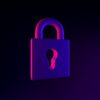 Icona al neon del lucchetto chiuso. elemento di interfaccia ui ux di rendering 3d. simbolo incandescente scuro.