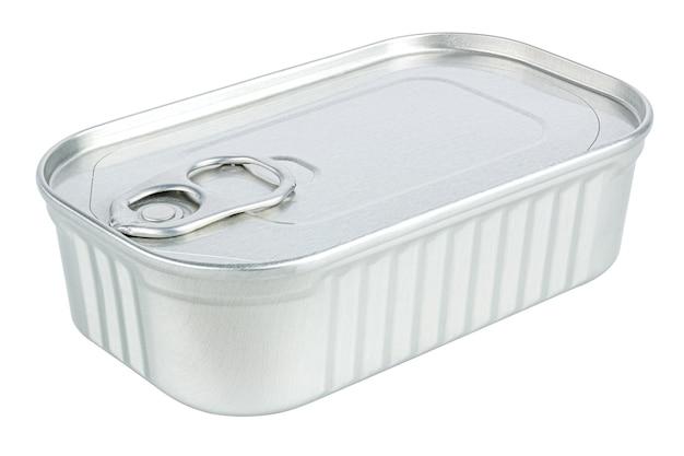 Barattolo di latta rettangolare chiuso isolato su priorità bassa bianca. ritaglia l'immagine della confezione del prodotto senza ombre e riflessi