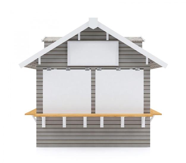 Il chiosco chiuso della via con l'insegna in bianco per derisione su isolato su fondo bianco, 3d si strappa