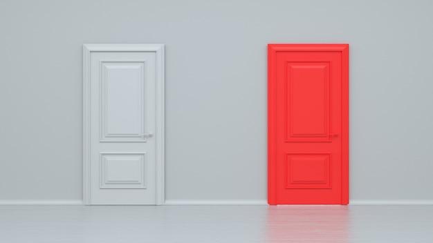 Porta realistica dell'entrata chiusa bianca e rossa isolata sulla parete bianca