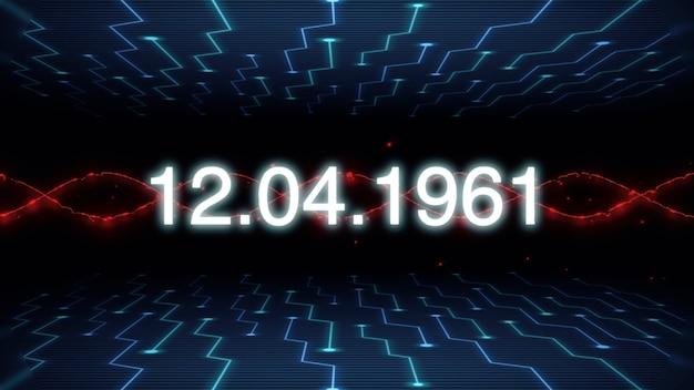 Primo piano 12.04.1961 testo sullo schermo futuristico con linee astratte e scheda madre, sfondo astratto. stile di illustrazione 3d elegante e lussuoso per il tema del cosmo e della fantascienza