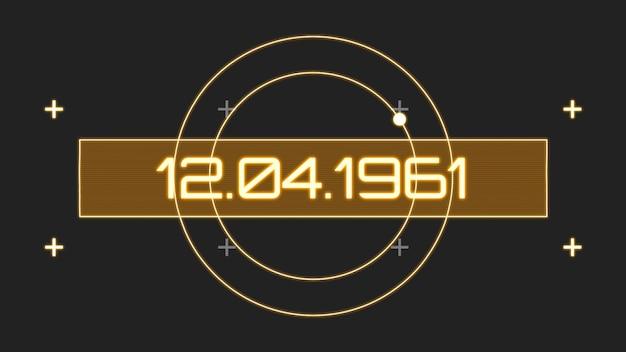 Primo piano 12.04.1961 testo sullo schermo con forme astratte dello spazio, sfondo astratto. stile di illustrazione 3d elegante e lussuoso per il tema del cosmo e della fantascienza