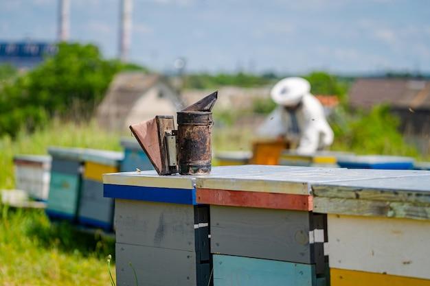 Primo piano del fumatore dell'ape all'alveare variopinto. bbeekeeper allo sfondo sfocato. concetto di apiario.