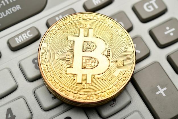Primo piano di bitcoin criptovaluta bitcoin