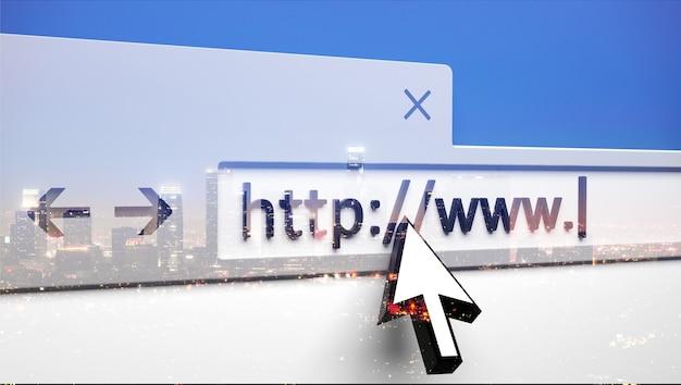 Primo piano della barra del browser con cursore e http digitati