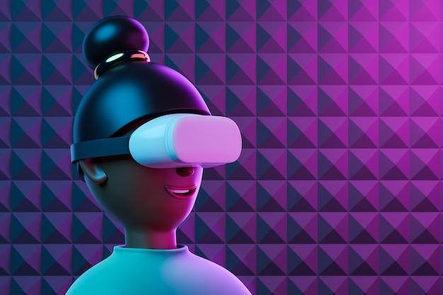 Ritratto del fumetto del primo piano di bella donna afroamericana che utilizza googles bianchi di realtà virtuale alla luce al neon rosa. illustrazione di rendering 3d
