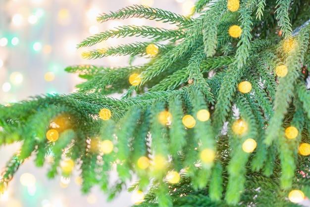 Primo piano albero di natale con sfondo chiaro bokeh