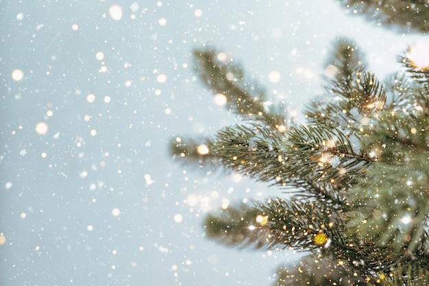 Primo piano dell'albero di natale con luce scintillante