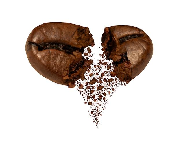 Primo piano della crepa del chicco di caffè
