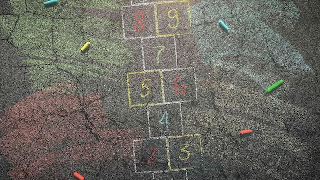 Primo piano gesso colorato su asfalto, sfondo della scuola. elegante e lussuosa illustrazione 3d del tema educativo