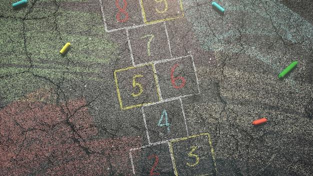 Primo piano gesso colorato su asfalto, sfondo della scuola. illustrazione elegante e di lusso del tema dell'istruzione