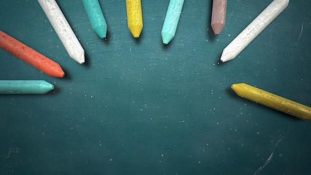 Primo piano gesso colorato sulla lavagna, sfondo della scuola. elegante e lussuosa illustrazione 3d del tema educativo
