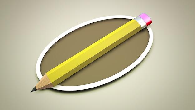 Matita colorata del primo piano su carta, fondo della scuola. illustrazione 3d elegante e di lusso del tema educativo