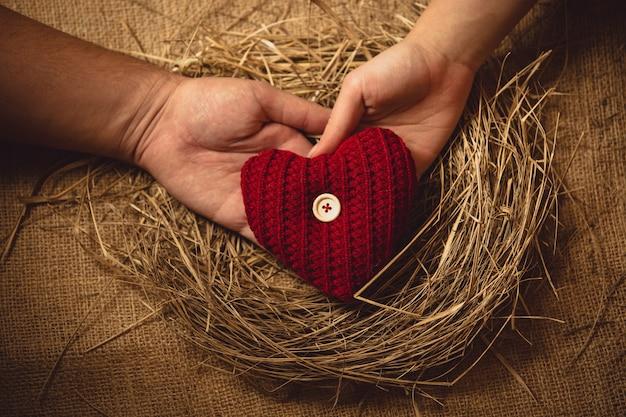 Primo piano di una coppia innamorata che tiene il cuore a maglia al nido