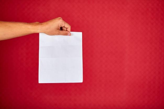 Primo piano della mano del corriere che tiene il sacchetto di carta della drogheria, servizio di consegna