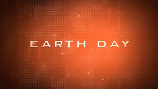 Primo piano testo giornata della terra con forme futuristiche al neon, sfondo astratto. stile di illustrazione 3d elegante e lussuoso per il tema del cosmo e della fantascienza
