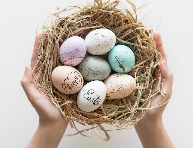 Primo piano delle uova di pasqua