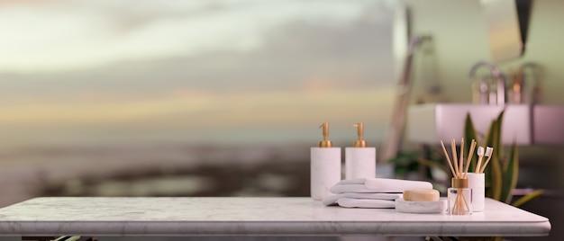 Primo piano, spazio vuoto sul ripiano del tavolo in marmo con servizi alberghieri, asciugamani, diffusori di aromi su sfondo sfocato, rendering 3d, illustrazione 3d
