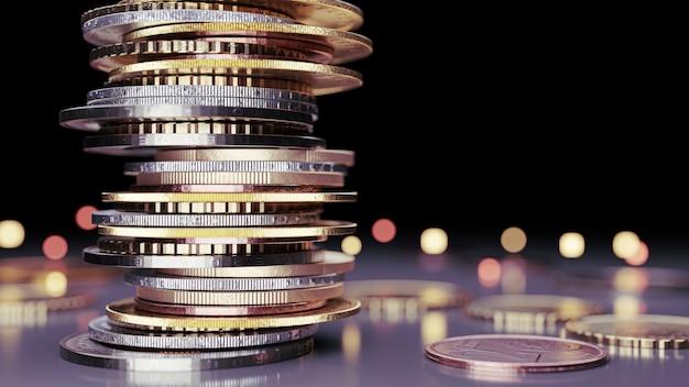 Primo piano delle monete in euro di impilamento con background.3d nero render.