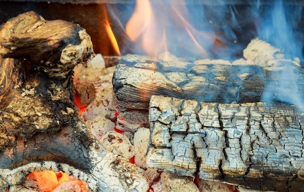 Primo piano di legna da ardere che brucia nel fuoco tre billette in fiamme in una stufa calda