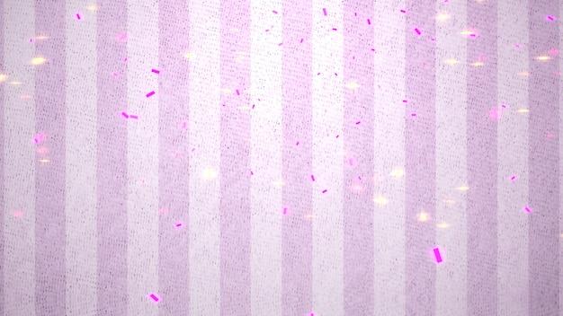 Primo piano volare coriandoli e luccica su sfondo lucido di san valentino. illustrazione 3d di stile lussuoso ed elegante per le vacanze