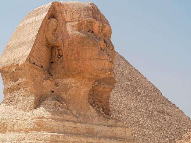 Primo piano della grande sfinge di giza e piramide