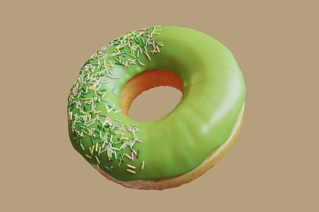 Primo piano ciambella al tè verde con glassa spruzza dolce isolato galleggiante su sfondo giallo. concetto minimo di idea alimentare 3d rendering.