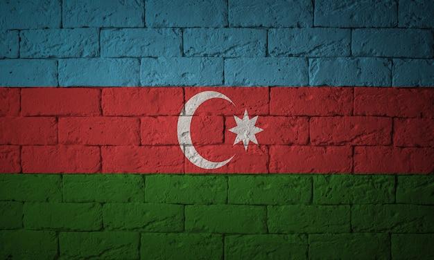 Primo piano della bandiera del grunge dell'azerbaigian. bandiera con proporzioni originali
