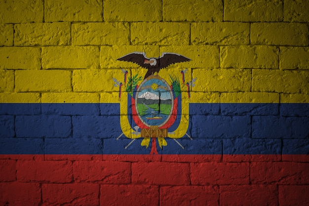 Primo piano della bandiera del grunge dell'ecuador. bandiera con proporzioni originali.