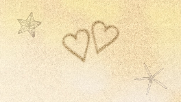 Cuore e stelle marine di amore del primo piano sulla spiaggia, fondo di nozze. elegante e lussuoso stile di illustrazione 3d pastello per matrimonio o tema romantico
