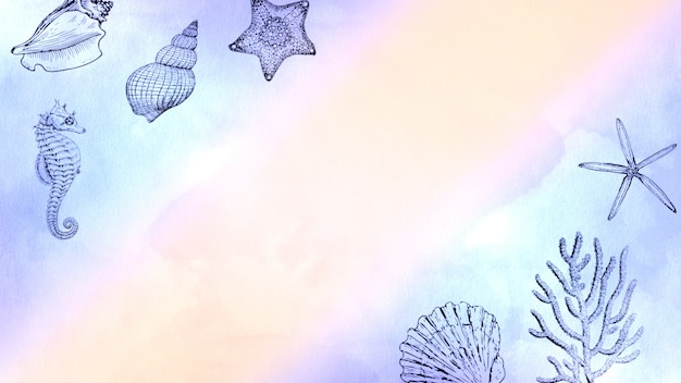 Animali marini del primo piano sulla spiaggia, fondo di estate. elegante e lussuoso stile di illustrazione 3d pastello per viaggi o temi romantici