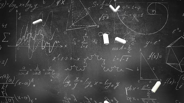 Formula matematica del primo piano ed elementi sulla lavagna, fondo della scuola. elegante e lussuosa illustrazione 3d del tema educativo