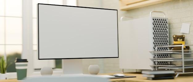 Interior design dell'ufficio del primo piano con il rendering 3d del mockup dello schermo vuoto del computer desktop moderno