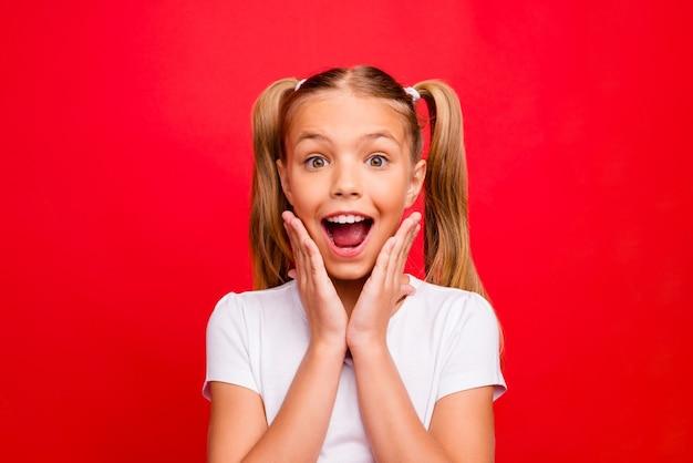 Foto del primo piano della bella piccola signora che tiene le braccia sugli zigomi bocca aperta umore emozionante sconti di capodanno indossare t-shirt bianca isolato rosso vivido colore di sfondo