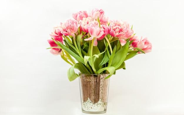 Foto del primo piano di un grande mazzo di tulipani rosa contro il bianco