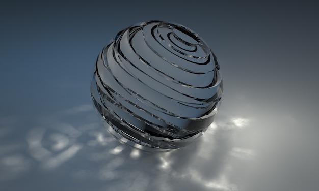 Primo piano della sfera di cristallo che rifrange la luce su sfondo blu