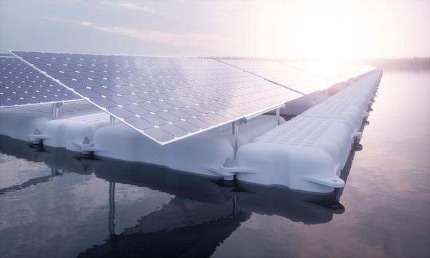 Un primo piano di una serie galleggiante di pannelli solari installati su un pontone bianco in una magica luce mattutina viola con una lontana foresta nebbiosa sullo sfondo. rendering 3d.