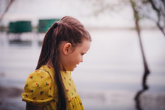 Ritratto del primo piano di una ragazza sorridente con i capelli lunghi e una bella acconciatura con la superficie di un ri...