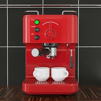 Primo piano macchina per caffè espresso rosso davanti al muro di piastrelle nere su un tavolo di legno. rendering 3d