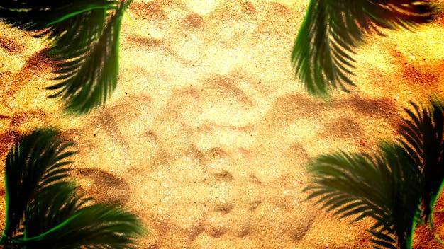 Primo piano spiaggia sabbiosa con sabbia e palme, sfondo cinematografico estivo. elegante e lussuosa illustrazione 3d anni '80 e '90 in stile retrò