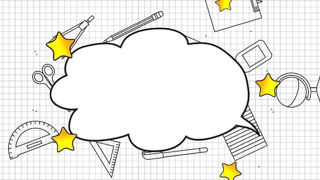 Primo piano degli elementi della scuola, sfondo dell'istruzione. illustrazione 3d elegante e di lusso