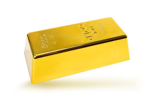 Primo piano lucido un lingotto d'oro 1 kg su sfondo bianco tracciato di ritaglio