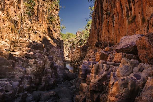 Colpo del primo piano delle scogliere nel parco nazionale del cacatua in australia