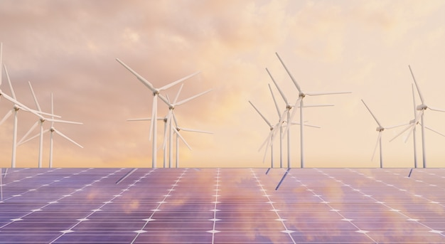 Primo piano del pannello solare con mulini a vento dietro in un caldo tramonto riflesso. concetto ambientale, energia rinnovabile. rendering 3d