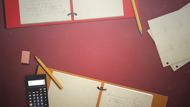 Tabella del primo piano dello studente con il taccuino e la calcolatrice, fondo della scuola. elegante e lussuosa illustrazione 3d del tema educativo