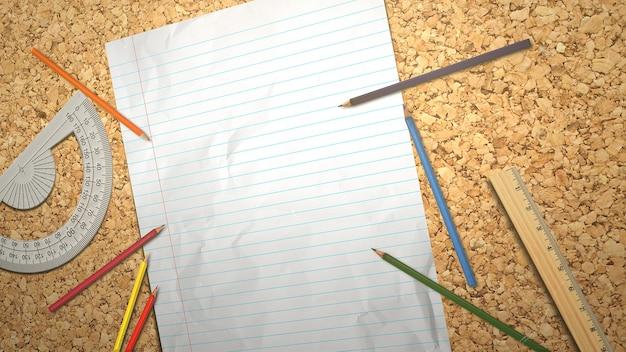 Tabella del primo piano dello studente con il taccuino e la matita, fondo della scuola. illustrazione 3d elegante e di lusso del tema educativo