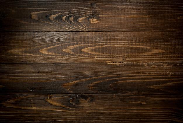 Struttura del primo piano di vecchie plance di legno scure. sfondo orizzontale con vignettatura
