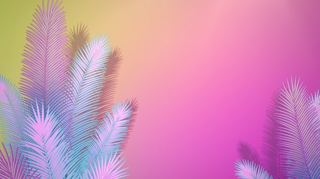 Foglia tropicale del primo piano degli alberi, fondo di estate. elegante e lussuosa illustrazione 3d in stile retrò anni '80 e '90
