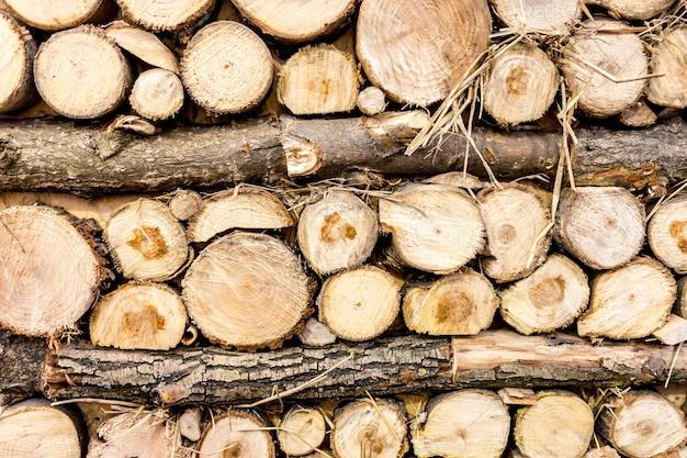 Vista del primo piano dei ceppi di legno appena tagliati impilati