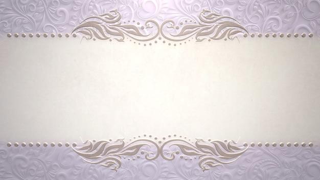 Cornice d'epoca primo piano con fiori, sfondo di nozze. illustrazione 3d in stile pastello elegante e di lusso
